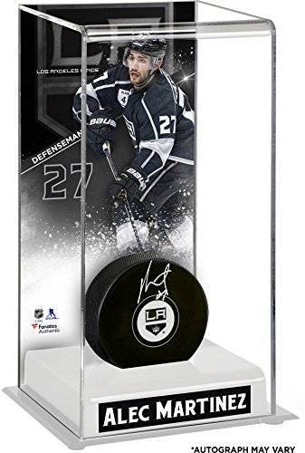 Alec Martinez Los Angeles Kings Autographed Puck with Deluxe Tall Hockey Puck Case - Fanatics Authentic Certified (Acrylic Black Alec)