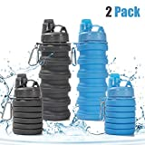 Rosoz Collapsible Water Bottle BPA Free,FDA Approved Food-Grade Foldable Water Bottle,Portable Leak Proof Silicone Sports Travel Water Bottle, 18oz