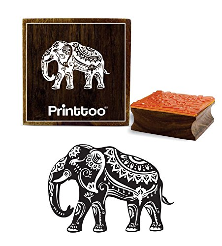 Elephant Stamps - Printtoo Elephant Pattern Wooden Square Rubber Stamp Scrap-Booking Craft Stamps-2 x 2 inches