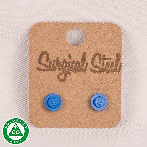Blue LEGO Round Stud Earrings