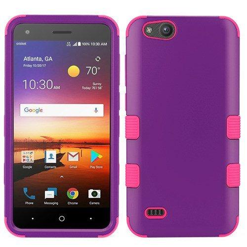 MyBat Cell Phone Case for ZTE N9137 (Tempo X), ZTE Z839 (Blade Vantage), ZTE Z855 (Avid 4), ZTE Fanfare 3, Rubberized Grape/Electric Pink Solid from MYBAT