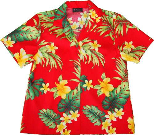 RJC Womens Tropical Summer Hibiscus Camp Shirt in Red – S