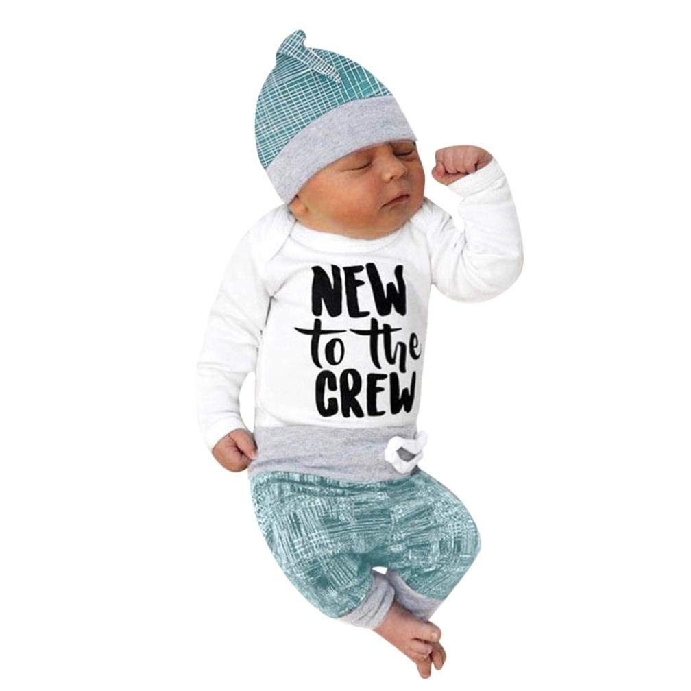 Sunbona 3pcs Set Outfits Infant Baby Boys Letter Print Short Sleeve Romper Jumpsuit+Long Pants Hat Clothes