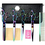"""LILYS PET 7.5"""" Professional Multi-Color PET DOG Grooming scissors suit Cutting&Curved&Thinning shears"""