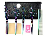 "LILYS PET 7"" Professional PET DOG Grooming Coated Titanium scissors suit Cutting&Curved&Thinning shears (Rainbow)"