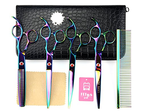 LILYS PET Professional PET DOG Grooming Coated Titanium scissors suit Cutting&Curved&Thinning shears (7.0 inches, Rainbow)