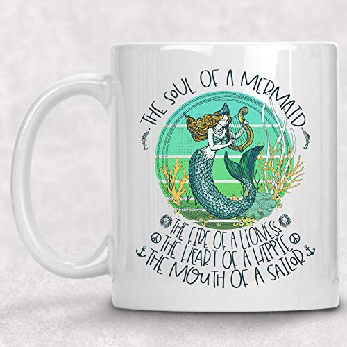 Soul of a Mermaid Mug Watercolor Art Coffee Cup Hippie Gift for Her (Cup Mermaid Coffee)