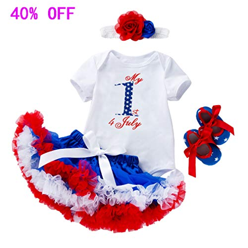 Fairy Baby 1st 4th of July Baby Girl Outfit Tutu Dress Skirt Set 4pcs Costume Clothing Set Size 12-18M (5)