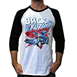Back To The Future Men's Red and Blue Soft Raglan T-Shirt White/Black M