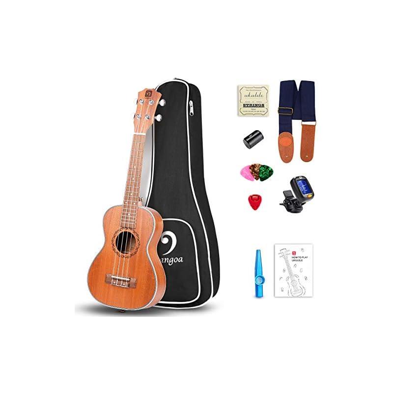 Vangoa Soprano Ukulele Mahogany UK-21M 21 inch Acoustic Ukulele Beginner Bundle with Picks, Nylon Strap, Pick Container, Tuner, Kazoo, Extra Strings, Finger Shaker and Gig Bag