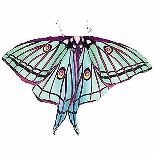 Ryshman Women Cape Halloween Shawl Wrap Printed Butterfly Wing/Peacock/Pumpkin Cloak (Green) -