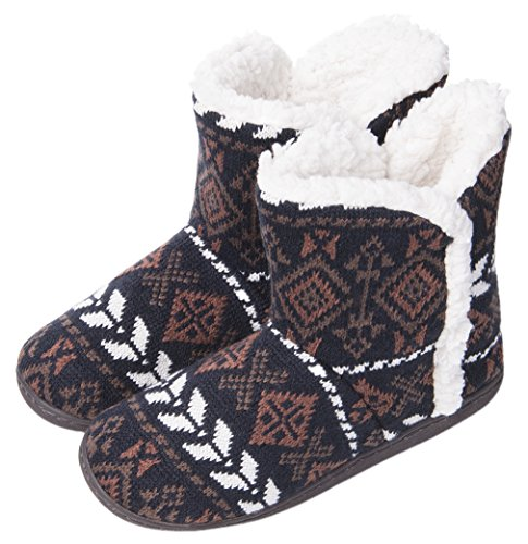 MIXIN Women's Anti Slip Knitted Woolen Striped Faux Fleece Lined Indoor Outdoor Slipper Boots Black 8 M US (Striped Booties)