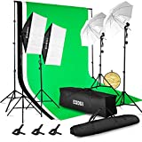ESDDI 3meter x 2.6meter Background Support System with Backdrop, 800W 5500K Umbrella Softbox Lighting Kit for Photo Studio Product, Portfolio and Video Shooting Photography Studio