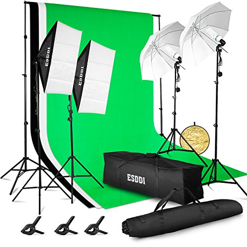 ESDDI 3meter x 2.6meter Background Support System with Backdrop, 800W 5500K Umbrella Softbox Lighting Kit for Photo Studio Product, Portfolio and Video Shooting Photography Studio by ESDDI