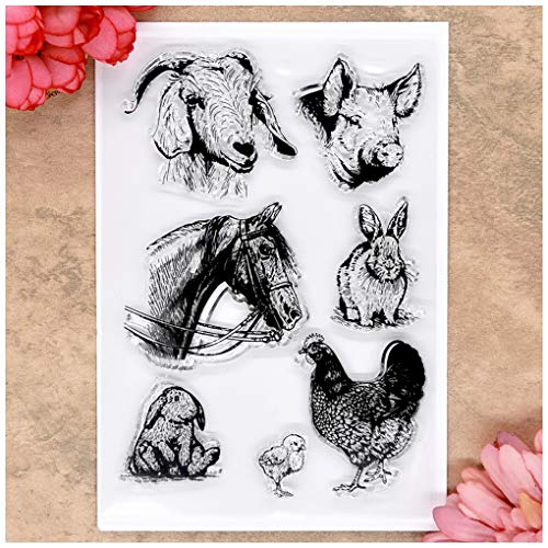 (Kwan Crafts Animal Sheep Pig Horse Rabbit Chicken Clear Stamps for Card Making Decoration and DIY Scrapbooking)
