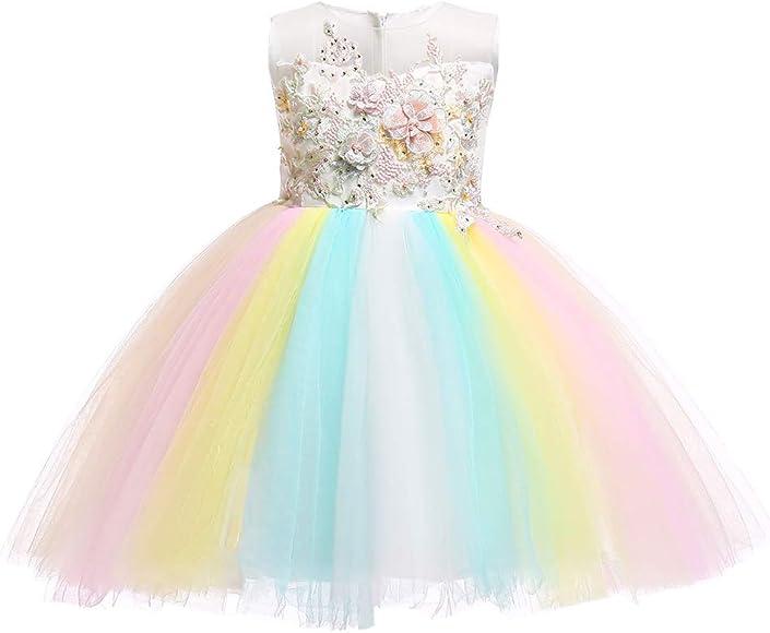Baby girl princess Birthday Party dress Rainbow Toddler Tutu Tulle dress 0-24M