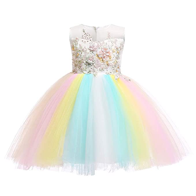 805eb22746 Girls Kids Flower Unicorn Birthday Outfits Cosplay Fancy Costume Princess  Dress up Lace Tulle Pageant Party Dance Gown