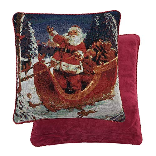 FILLED FATHER CHRISTMAS SANTA SLEIGH RED GOLD WOVEN COTTON CHENILLE THROW PILLOW SCATTER SHAM CUSHION ()