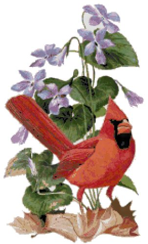 Illinois State Bird (Northern Cardinal) and Flower (Violet) Counted Cross Stitch Pattern