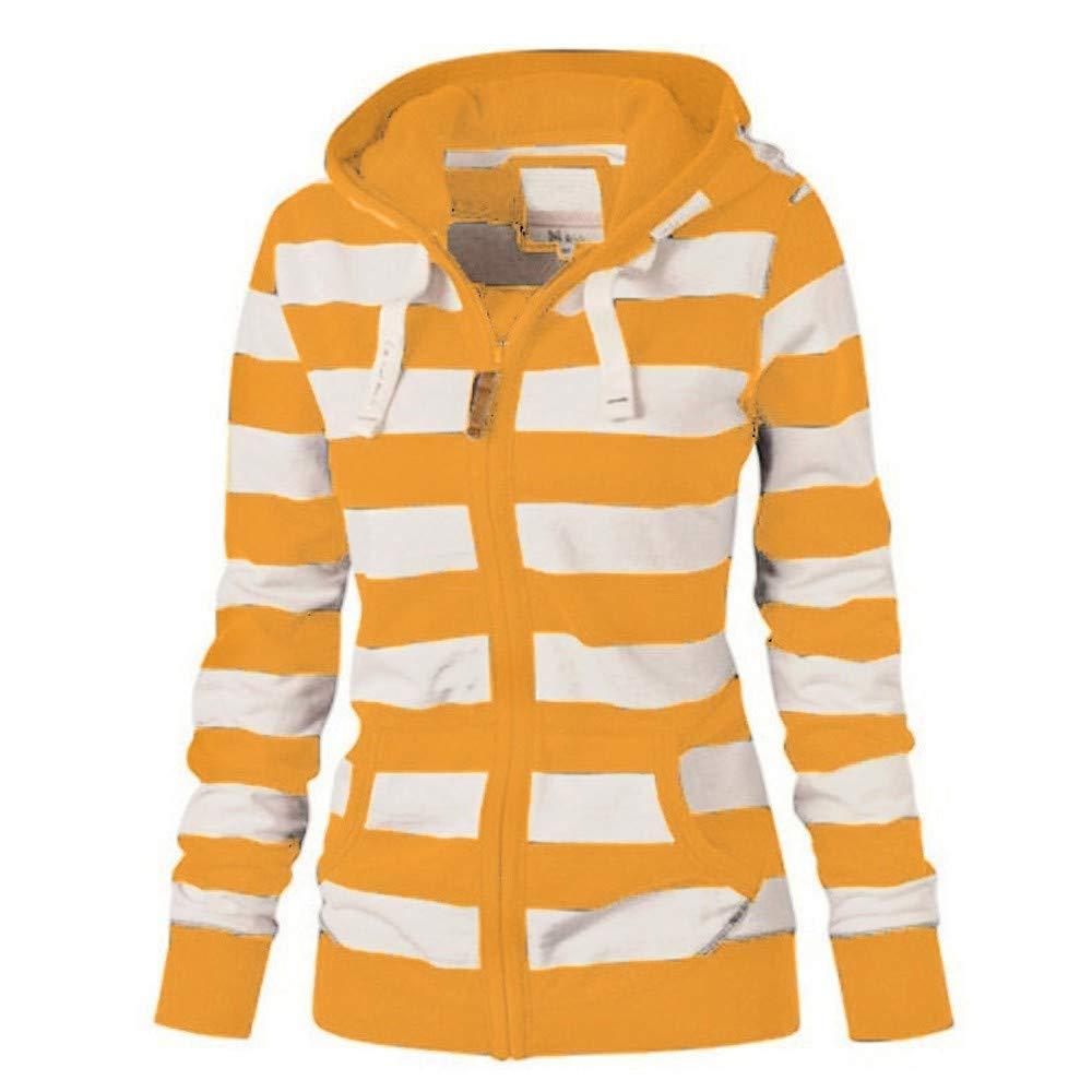 Realdo Womens Hoodie Sweatshirt Long Sleeve Stripe Casual Pullover Tops,Plus Size Full Zip Coat Jacket with Pockets Yellow by Realdo Womens