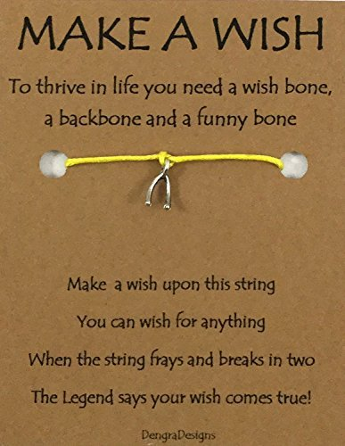 (Thoughtful Greeting Card and Wish Bracelet Make a Wish with Wishbone Charm - Charmed Greeting)