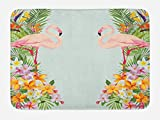 Ambesonne Floral Bath Mat, Flamingo Birds and Tropical Flowers Exotic Hawaiian Wildlife Animals Print, Plush Bathroom Decor Mat with Non Slip Backing, 29.5 W X 17.5 W Inches, Baby Blue and Orange