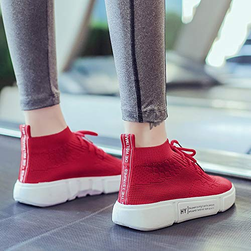 Sneakers Chaussures Rouge Femmes Pantoufles Round Lace Toe Alikeey Tommy Casual Mesh Fille Up Respirant AOxPE8wqB