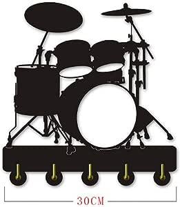 ANMY Dise/ño /único Instrumento Musical Kit de Tambor Silueta Gancho//instalaci/ón en la Puerta de la Pared Abrigo de la Ropa Sombrero Llave//Perchero//Gancho de la Pared decoraci/ón del hogar Moderno pegat