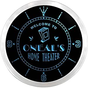ncph1540-b ONEAL'S Home Theater Movie Bar Beer LED Neon Sign Wall Clock