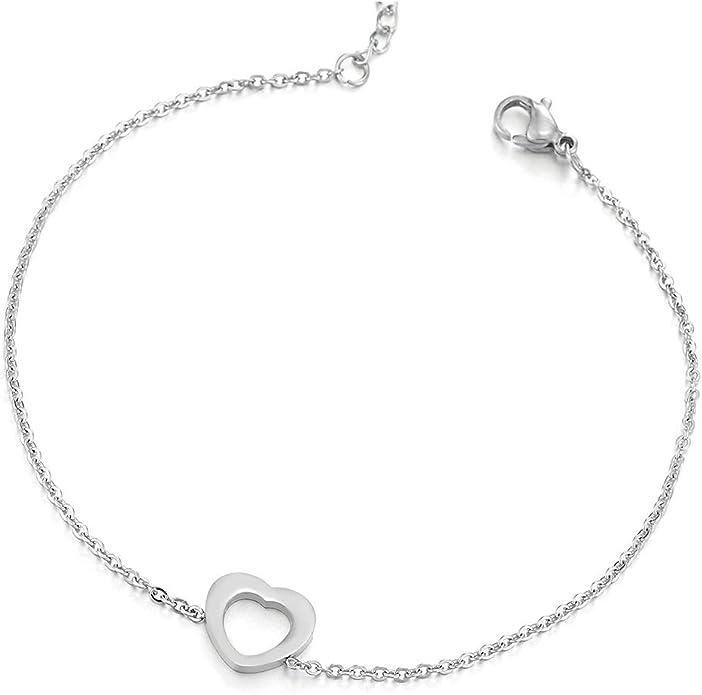 R/églable COOLSTEELANDBEYOND Acier Or Femme Bracelets de Cheville avec Satin Rose Zircone Cubique