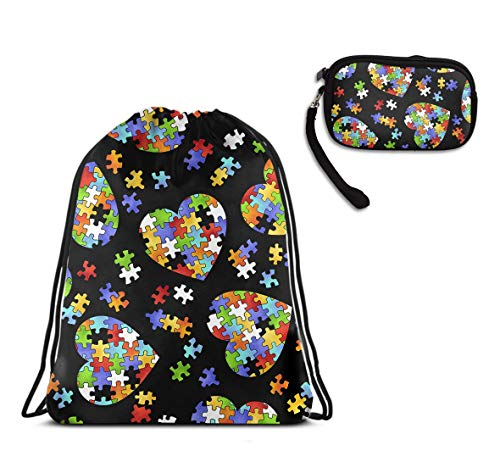 - Gym School Drawstring Bag Tote Cinch Sack - Colorful Autism Awareness Drawstring Rucksack, Large Size Lightweight Water Resistant Shoulder Backpack + Travel Purse Wristlet