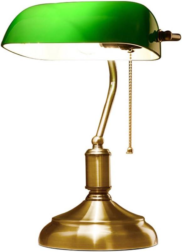 Bankerlampe mit Zugschalter Tischlampe Glas Schreibtisch Leuchte Banker Lampen