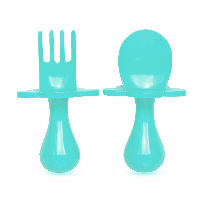Grabease 初めてのセルフフィード用具 スプーンとフォークのセット 幼児と赤ちゃん用 BPAフリー。 携帯用ポーチ ブルー 1  ティール B01NBW9ZL2