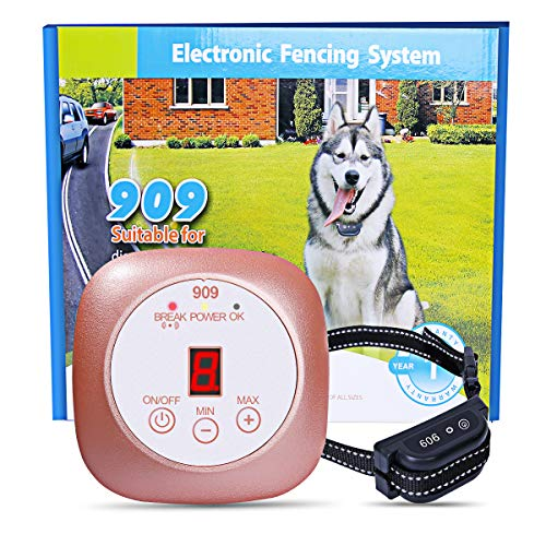 YHPOYLP Wireless Dog Containment System, in-Ground Dog Fence Design Wireless Dog Fence System Invisible Pet Fence Dog Training Collar Rechargeable & Waterproof Easy Installation (with One Collar)