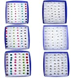 Imixlot Women's Acrylic Wholesale 144Pairs(6boxes) Invisible Bar Crystal Earring Studs Bulk Multicolor