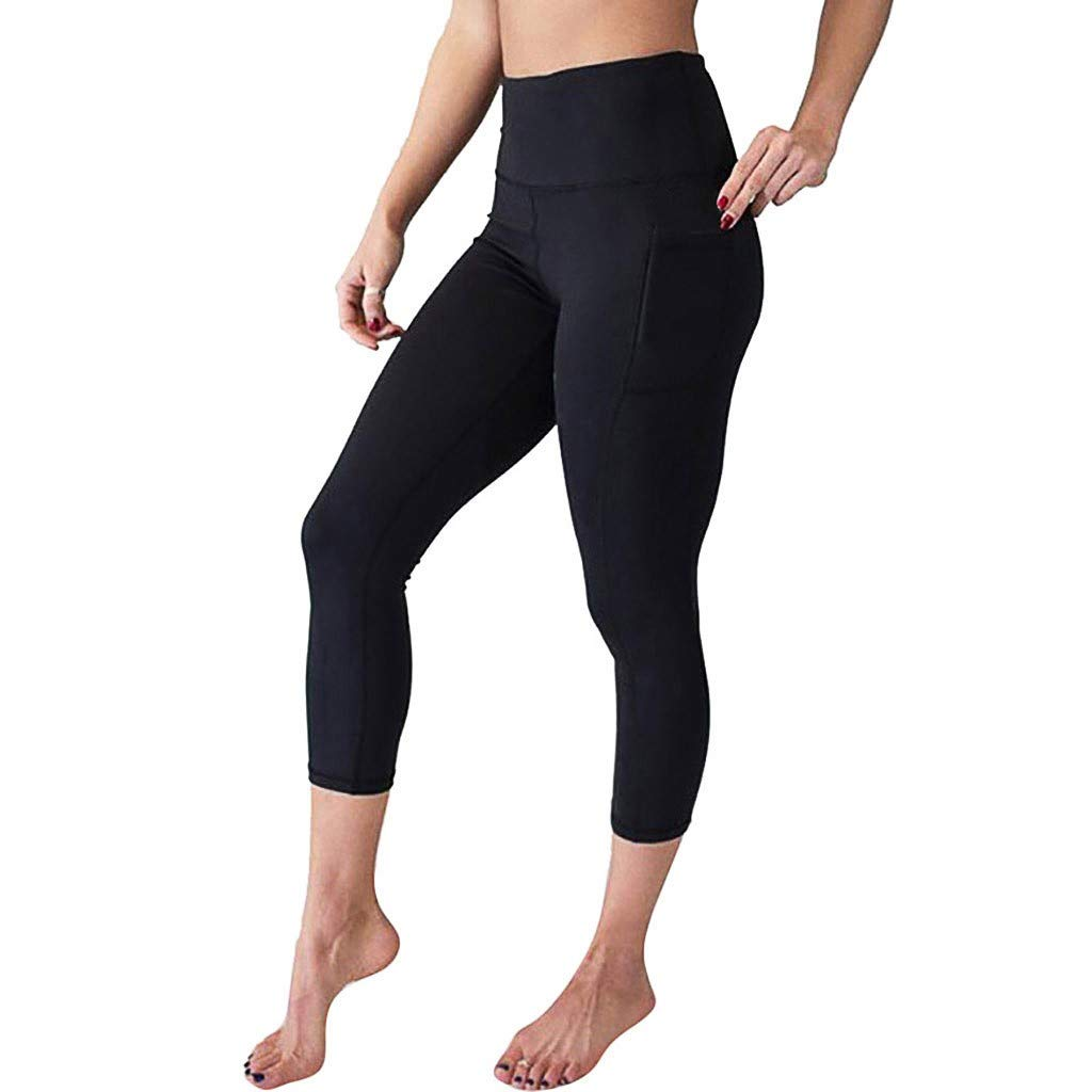 SGMORE Short Yoga Pants for Women High Waist Yoga Pants with Pockets Plus Size Tummy Workout Running Sports Leggings Skinny Thighs Slimming Shapewear Power Flex Capri Black