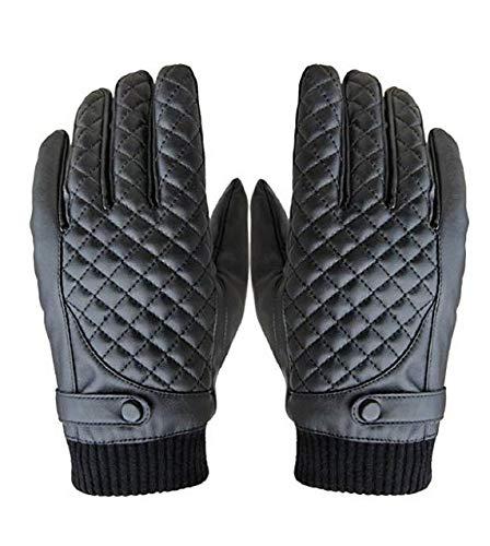 Guanti moto uomo, sport invernali termici PU pelle guanti Touch RRunzfon
