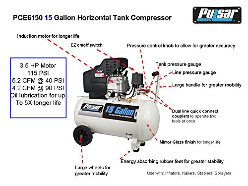 Pulsar PCE6150 Horizontal Electrical Air Compressor, 15-Gallon