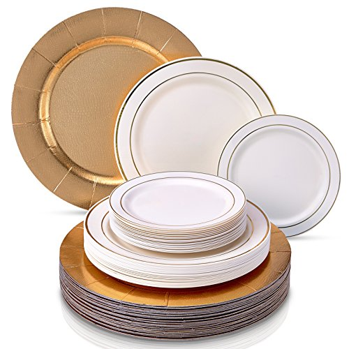 (MODERN ELEGANT DISPOSABLE 6 PC DINNERWARE SET | Heavy Duty Plastic Dishes | 2 Chargers | 2 Dinner Plates | 2 Salad Plates | for Upscale Wedding and Dining | Silver Glare Collection (Ivory/Gold))