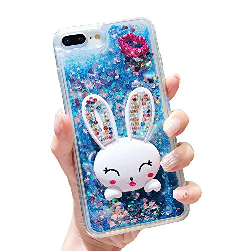 Glitter Liquid Case for Huawei P Smart Blue, Mistars Transparent Soft TPU Bumper with 3D Bling Diamond Lips and Bunny Stand Function Design Protective Case for Huawei Enjoy 7S / P Smart]()