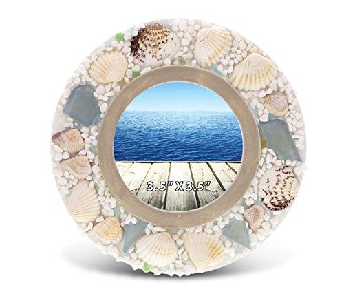 CoTa Global Oceanic Round Sea Shell Photo Frame - 3.5 inch x 3.5 inch - Nautical Decor - Item - Sea Shell Frames