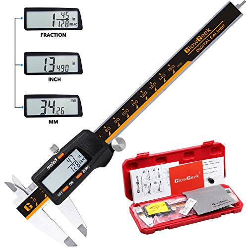 GlowGeek CD-6-150 Quality Electronic Digital Vernier Caliper Inch/Metric/Fractions Conversion 0-6Inch/150mm Stainless Steel Body Orange/Black Extra Large LCD Screen Auto Off Featured Measuring (6 Digital Vernier Calipers)