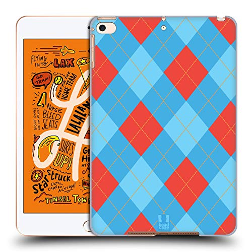 Head Case Designs Red and Blue Argyle Hard Back Case Compatible for iPad Mini (2019)