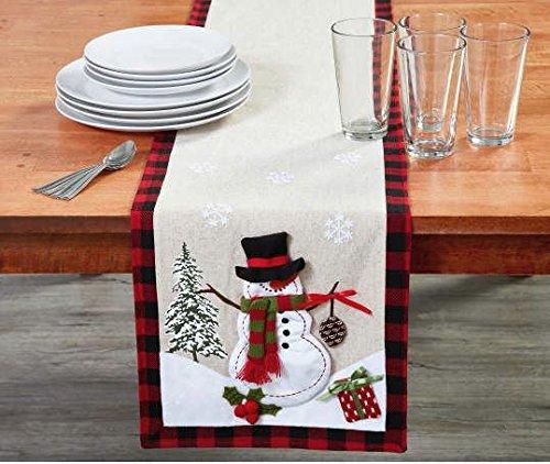 - Plaid Snowman Applique Table Runner 72
