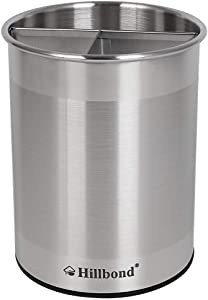 Hillbond Rotating Kitchen Utensil Holder: Stainless Steel Cooking Tools Crock with Removable Divider
