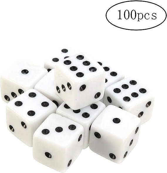 TaoNaisi 100 Paquetes de 8 mm Dados Blancos con los Puntos Negros para Juegos de Mesa, Actividades, Temas de Casino, favores de Fiesta, Regalos de Juguetes: Amazon.es: Juguetes y juegos