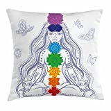 Ambesonne Chakra Decor Throw Pillow Cushion Cover, Spiritual Girl in Lotus with Colorful Chakra Stones Yoga Meditation Relax Zen Theme, Decorative Square Accent Pillow Case, 24 X 24 Inches, Multi