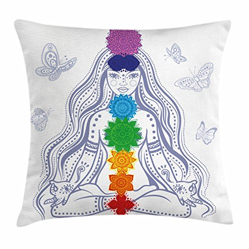 Lotus Cushion Cover - Ambesonne Chakra Decor Throw Pillow Cushion Cover, Spiritual Girl in Lotus with Colorful Chakra Stones Yoga Meditation Relax Zen Theme, Decorative Square Accent Pillow Case, 18 X18 Inches, Multi