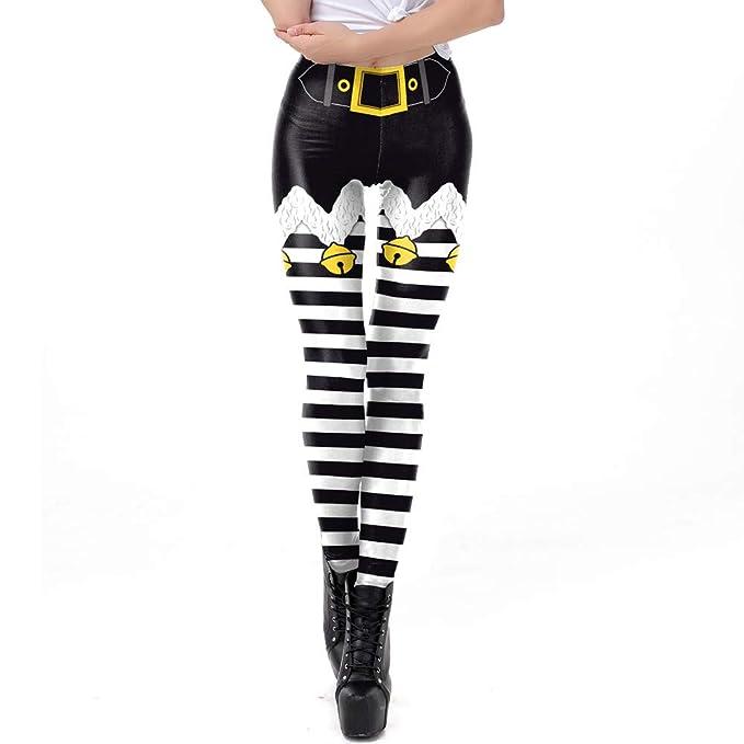 18ecdb5330 Amazon.com: Franterd Womens Christmas Leggings Xmas Bell Stripe Print Skinny  Tighten High Waist Pencil Pants for Gym Yoga Running: Clothing