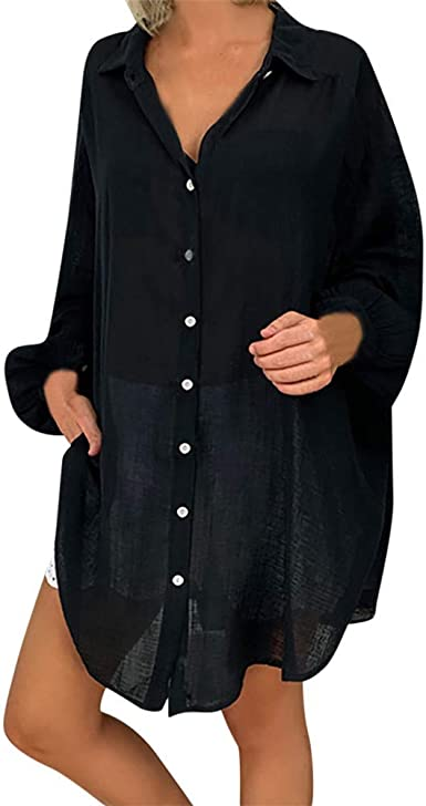 Camisas de Mujer Tamaño Grande Color sólido Cuello de Pico ...